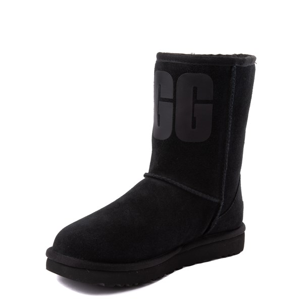 alternate view Womens UGG® Classic Short Logo Boot - BlackALT3