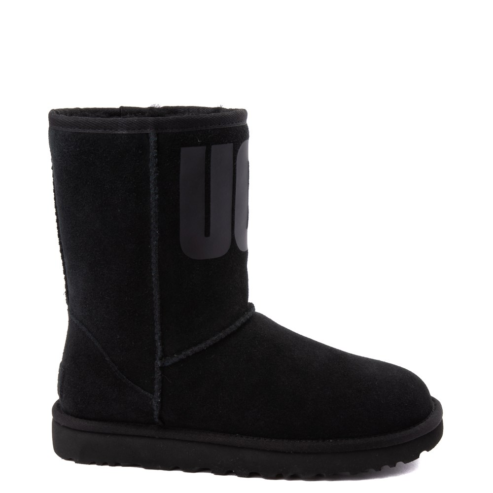 Womens UGG® Classic Short Logo Boot - Black