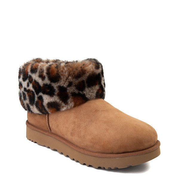 alternate view Womens UGG® Ultra Cuff Mini Fluff Boot - Chestnut / LeopardALT1
