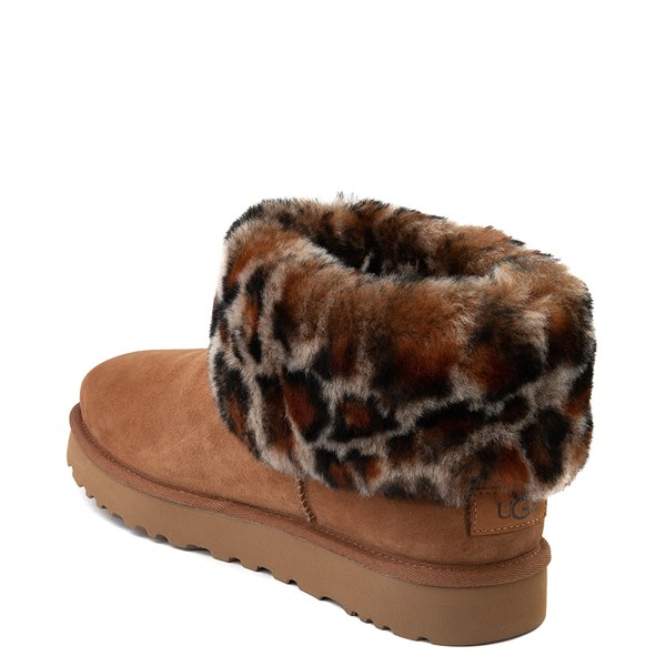 alternate view Womens UGG® Ultra Cuff Mini Fluff Boot - Chestnut / LeopardALT2