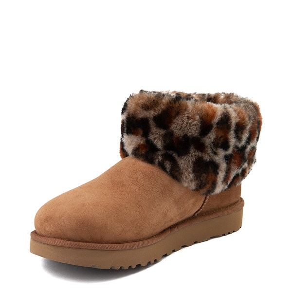 alternate view Womens UGG® Ultra Cuff Mini Fluff Boot - Chestnut / LeopardALT3