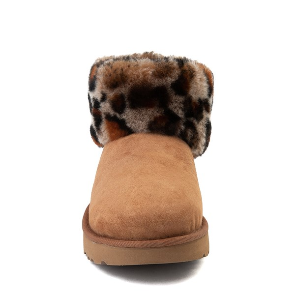 alternate view Womens UGG® Ultra Cuff Mini Fluff Boot - Chestnut / LeopardALT4
