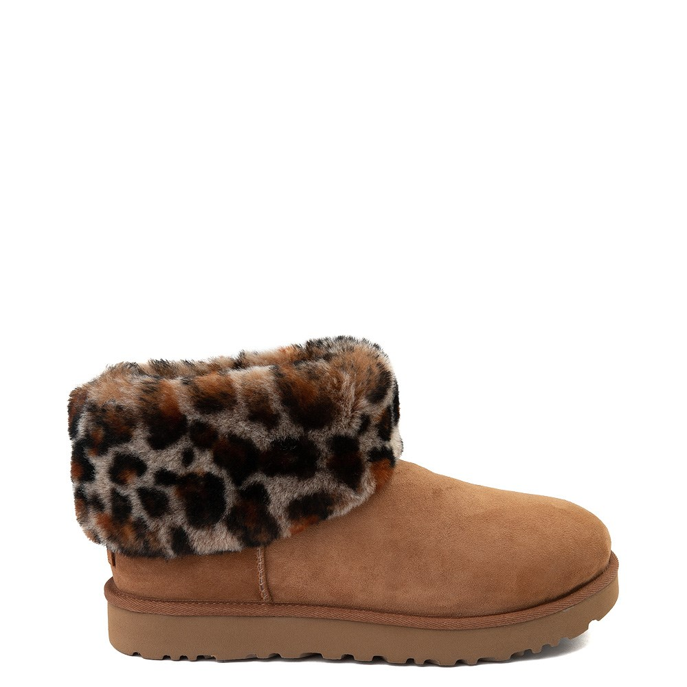 Womens UGG® Ultra Cuff Mini Fluff Boot - Chestnut / Leopard