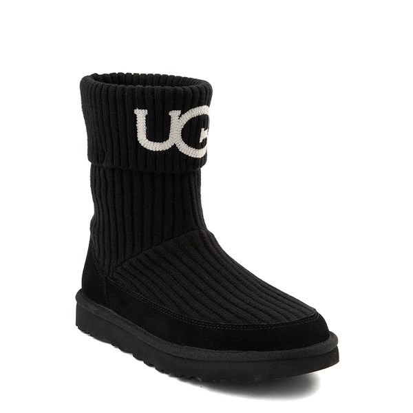 alternate view Womens UGG® Classic Knit Boot - BlackALT1