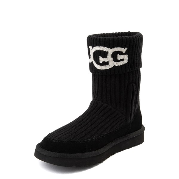alternate view Womens UGG® Classic Knit Boot - BlackALT3
