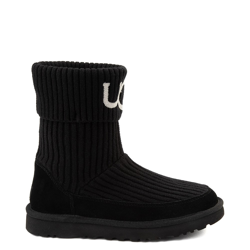 Womens UGG® Classic Knit Boot - Black