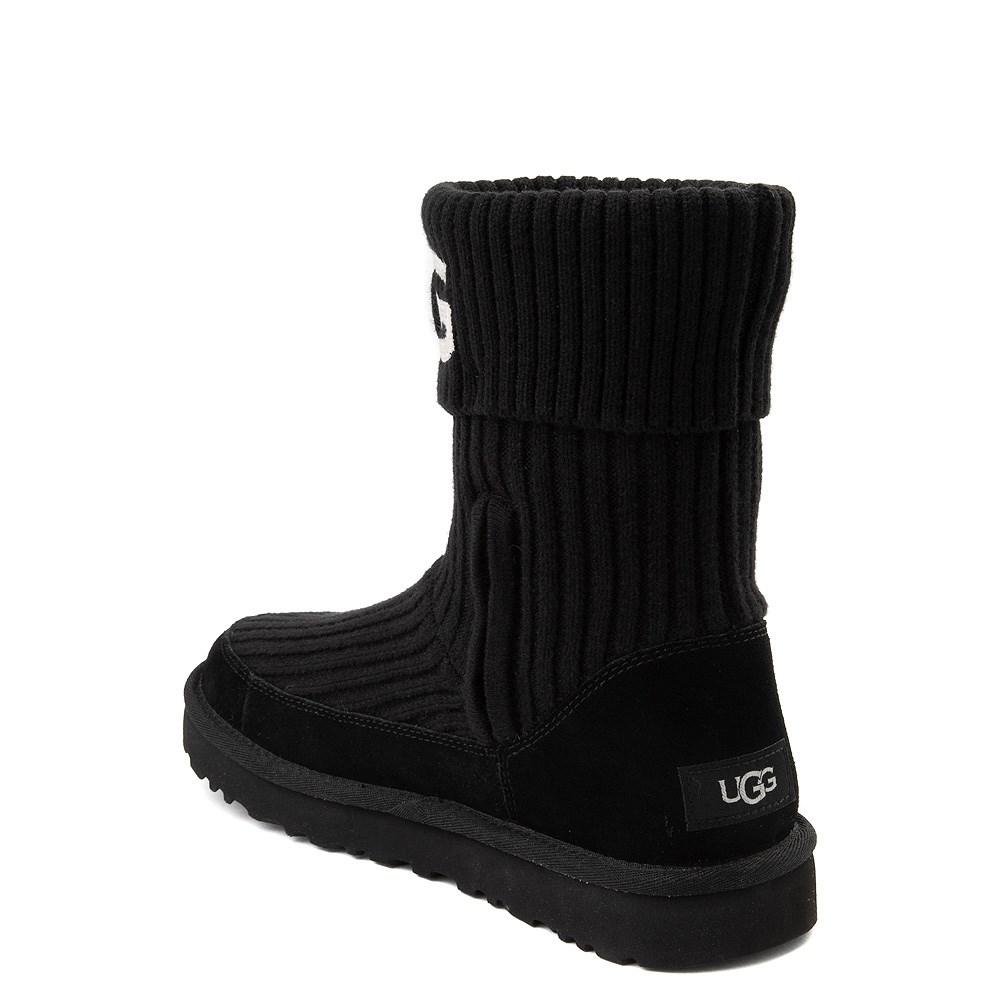 Womens UGG® Classic Knit Boot - Black