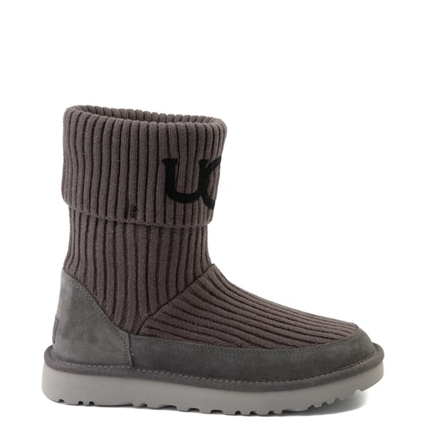 Womens UGG® Classic Knit Boot - Charcoal