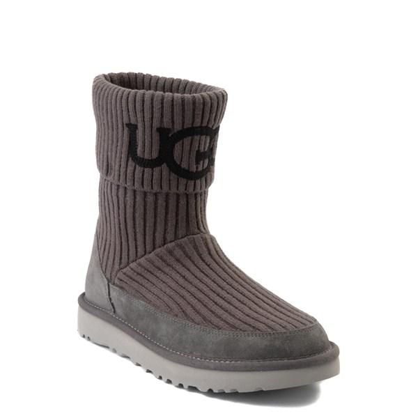 alternate view Womens UGG® Classic Knit Boot - CharcoalALT1