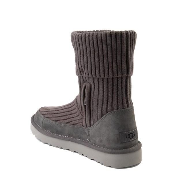 alternate view Womens UGG® Classic Knit Boot - CharcoalALT2
