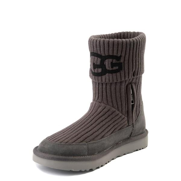 alternate view Womens UGG® Classic Knit Boot - CharcoalALT3