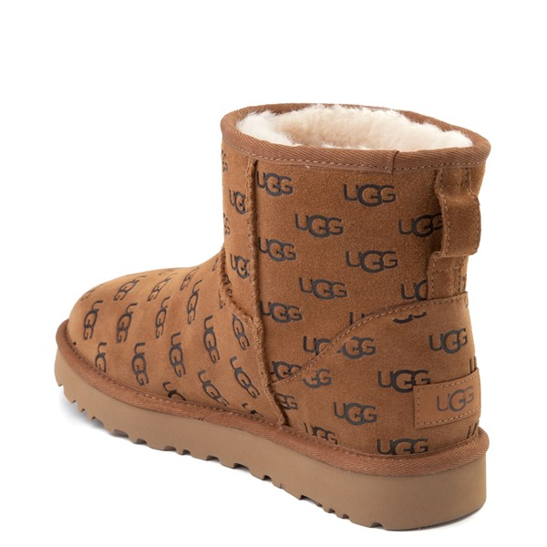 alternate view Womens UGG® Classic Mini II Embossed Boot - ChestnutALT1