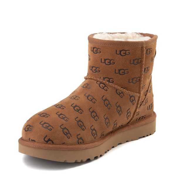 alternate view Womens UGG® Classic Mini II Embossed Boot - ChestnutALT2