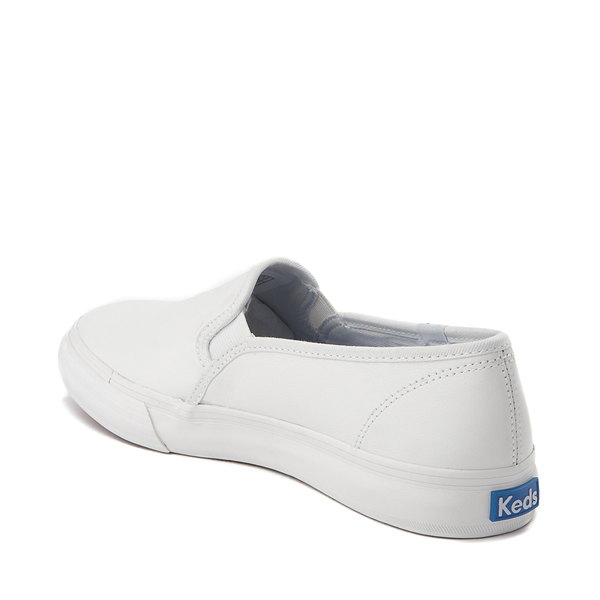 alternate view Womens Keds Double Decker Slip On Leather Casual Shoe - WhiteALT1