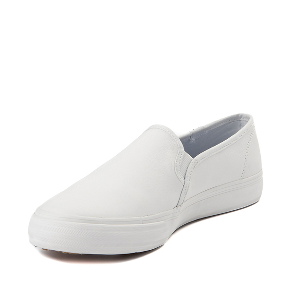 alternate view Womens Keds Double Decker Slip On Leather Casual Shoe - WhiteALT2