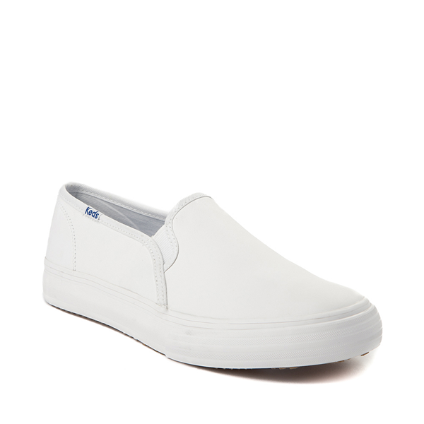 alternate view Womens Keds Double Decker Slip On Leather Casual Shoe - WhiteALT5