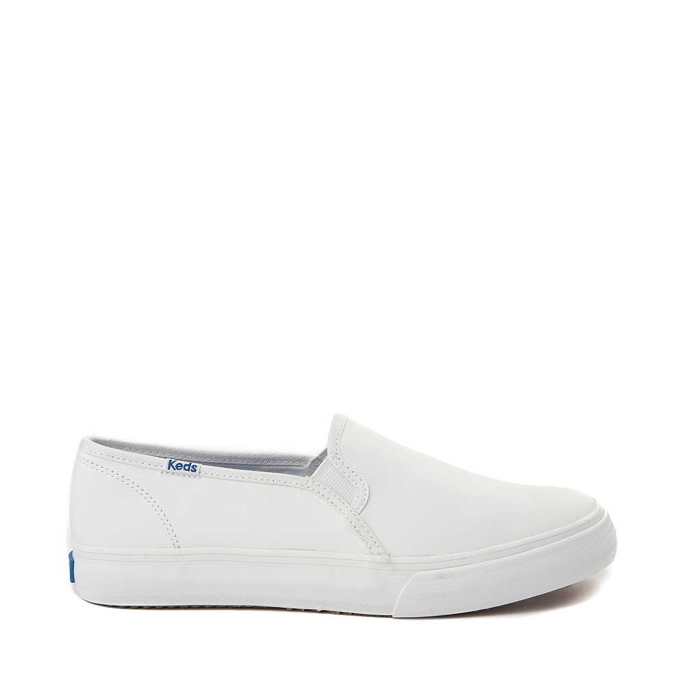 Womens Keds Double Decker Slip On Leather Casual Shoe - White