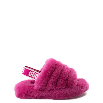 Main view of UGG® Fluff Yeah Slide Sandal - Little Kid / Big Kid - Fuchsia