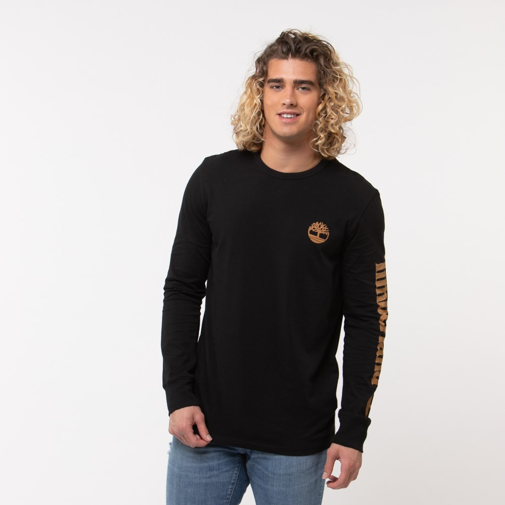 Mens Timberland Tree Logo Long Sleeve Tee - Black