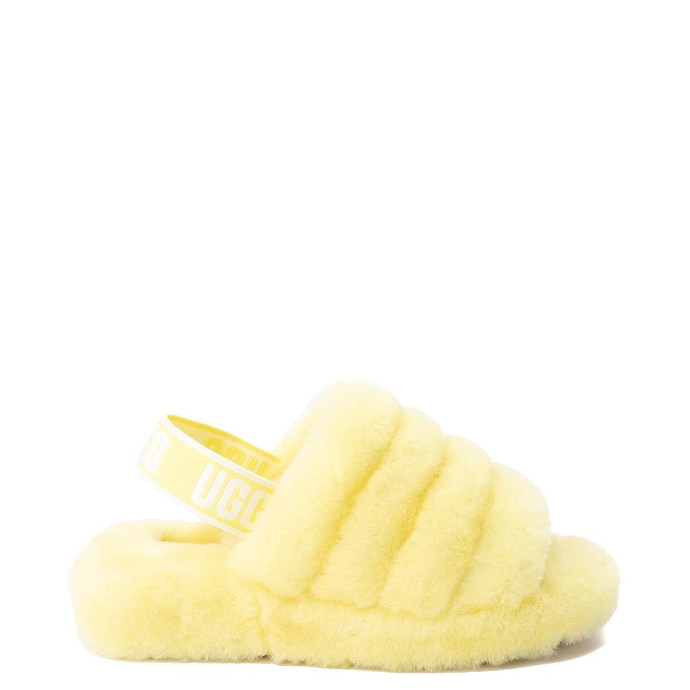Womens UGG® Fluff Yeah Slide Sandal - Neon Yellow