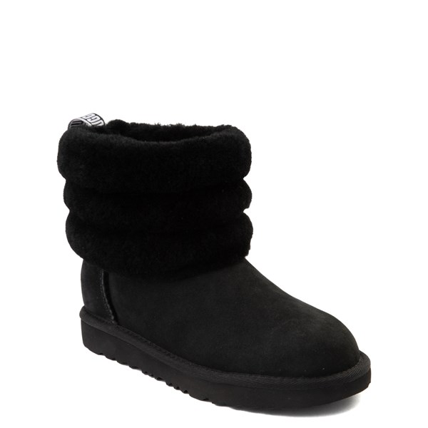 alternate view UGG® Classic Mini Fluff Boot - Little Kid / Big Kid - BlackALT1