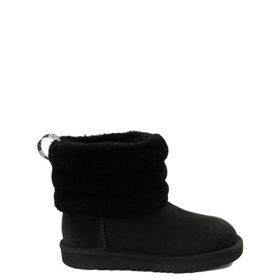 Main view of UGG® Classic Mini Fluff Boot - Little Kid / Big Kid - Black