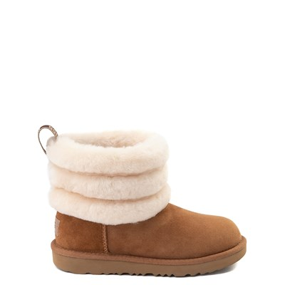 Main view of UGG® Classic Mini Fluff Boot - Little Kid / Big Kid - Chestnut