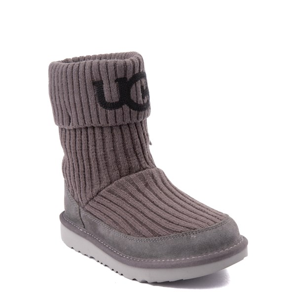 alternate view UGG® Knit Boot - Little Kid / Big Kid - CharcoalALT1