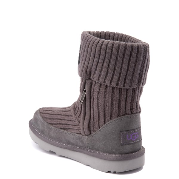 alternate view UGG® Knit Boot - Little Kid / Big Kid - CharcoalALT2