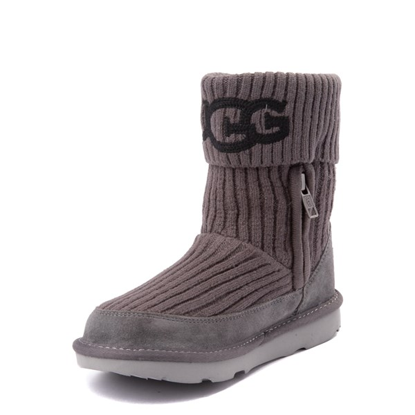 alternate view UGG® Knit Boot - Little Kid / Big Kid - CharcoalALT3