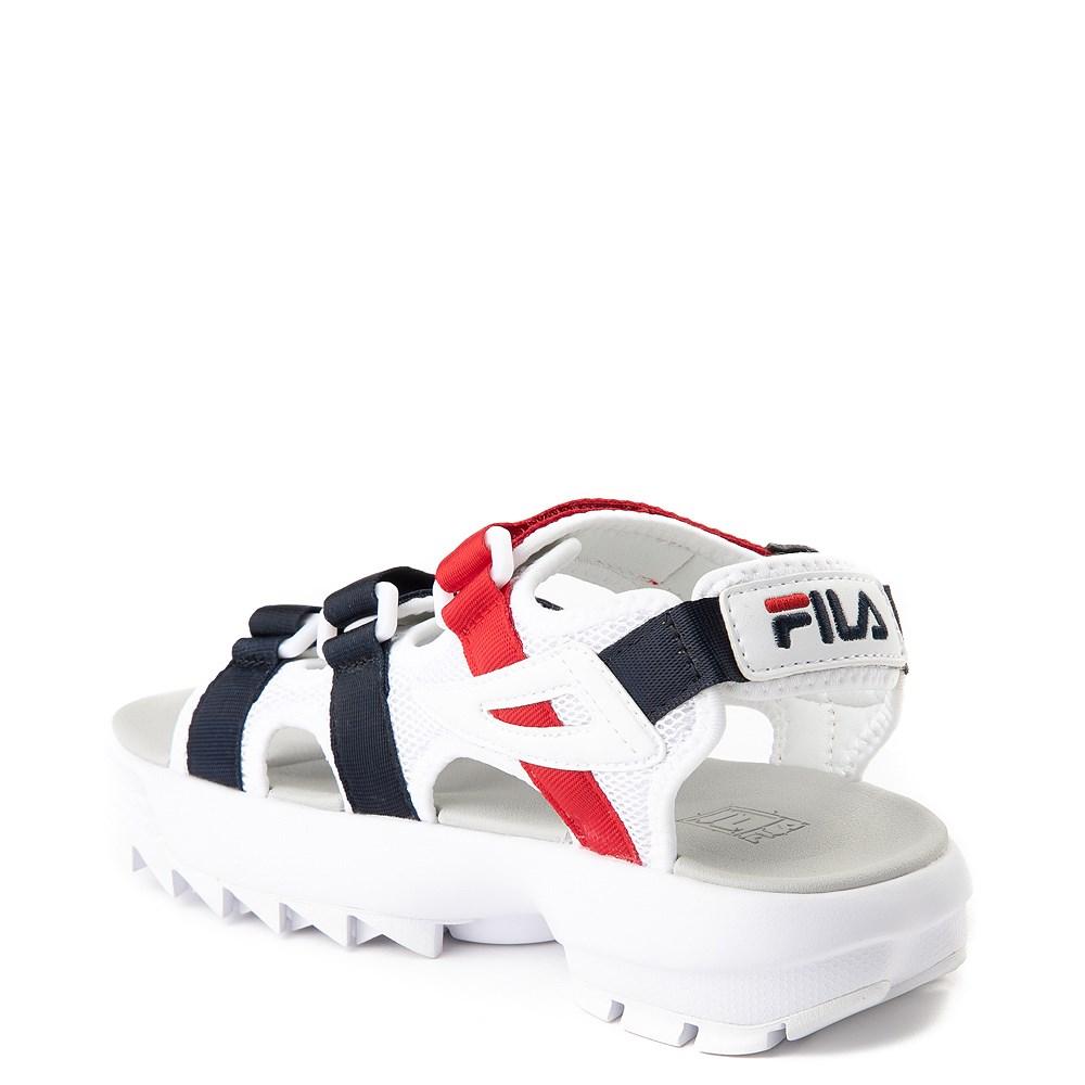 Womens Fila Disruptor Sandal White Navy Red