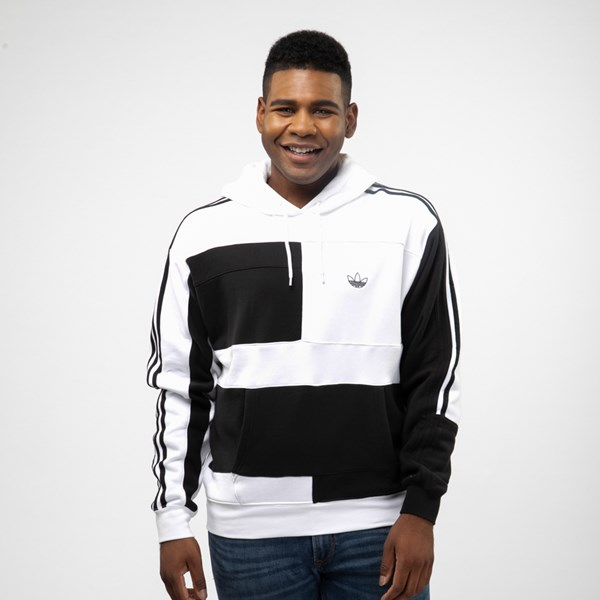 Mens adidas Asymmetrical Color-Block Hoodie - Black / White