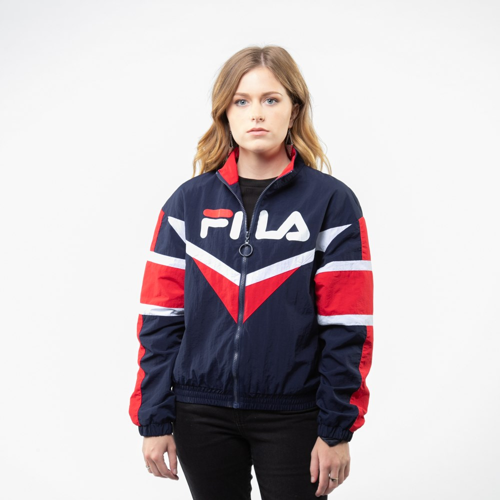 Womens Fila Jolie Windbreaker Jacket - Navy / Red / White