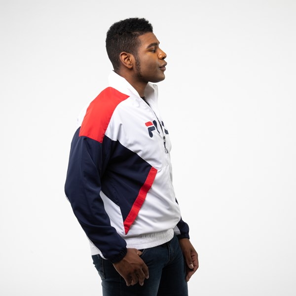 alternate view Mens Fila Oliviero Windbreaker Jacket - White / Navy / RedALT3