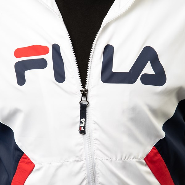 alternate view Mens Fila Oliviero Windbreaker Jacket - White / Navy / RedALT4