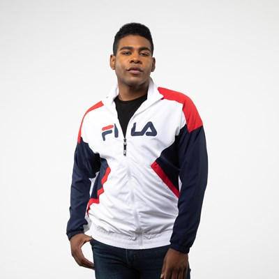 Main view of Mens Fila Oliviero Windbreaker Jacket - White / Navy / Red