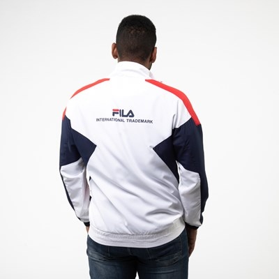 Alternate view of Mens Fila Oliviero Windbreaker Jacket - White / Navy / Red