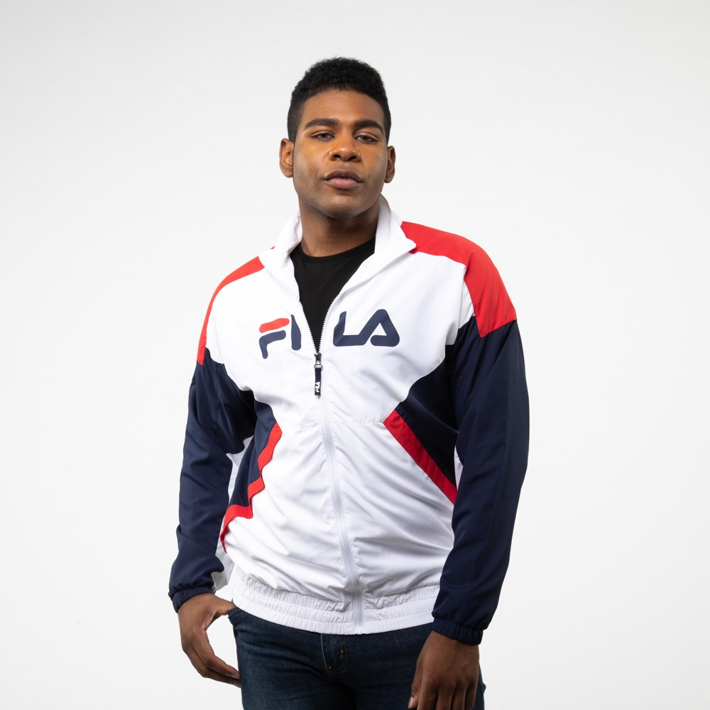 Mens Fila Oliviero Windbreaker Jacket - White / Navy / Red