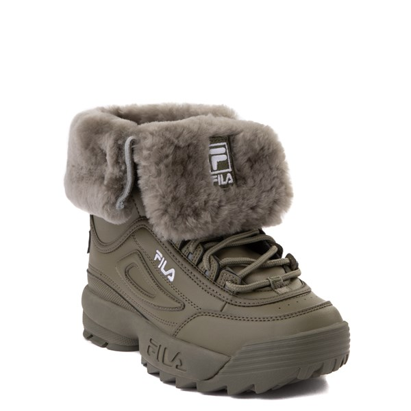 alternate view Fila Disruptor Shearling Boot - Big Kid - OliveALT1B