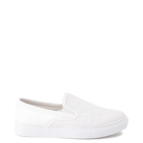 Womens Wanted Spangle Slip On Platform Casual Shoe - White