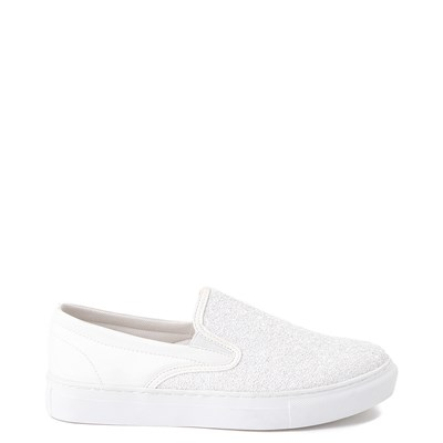 Main view of Womens Wanted Spangle Slip On Platform Casual Shoe - White