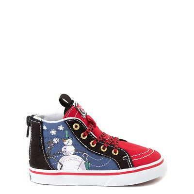 Main view of Vans x The Nightmare Before Christmas Sk8 Hi Zip Christmas Town Skate Shoe - Baby / Toddler - Red / Multi
