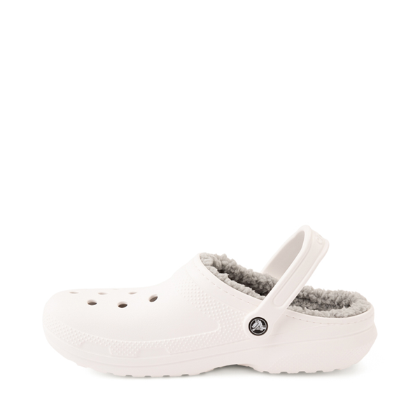 alternate view Crocs Classic Fuzz-Lined Clog - White / GrayALT1
