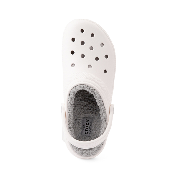 alternate view Crocs Classic Fuzz-Lined Clog - White / GrayALT2