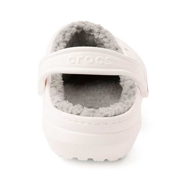 alternate view Crocs Classic Fuzz-Lined Clog - White / GrayALT4