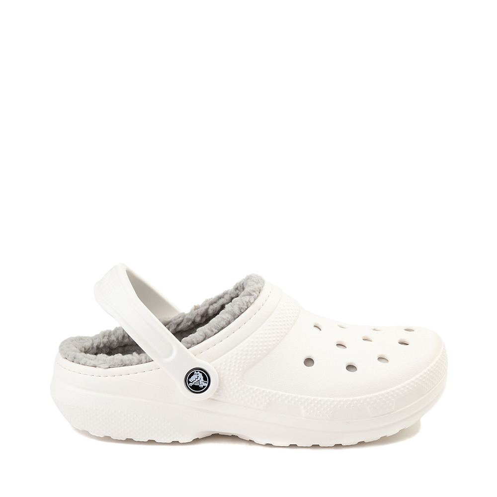Crocs Classic Fuzz-Lined Clog - White / Gray