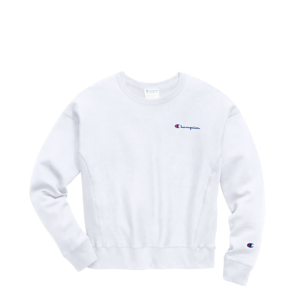 Womens Champion Reverse Weave Crew Sweatshirt - White