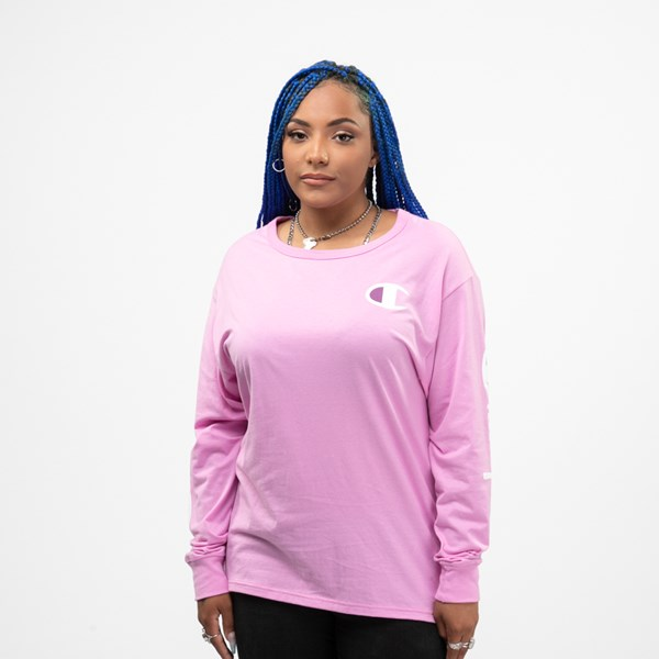Womens Champion Long Sleeve Boyfriend Tee - Paper Orchid