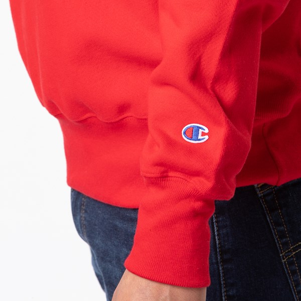 alternate view Mens Champion Reverse Weave Crew Sweatshirt - RedALT3
