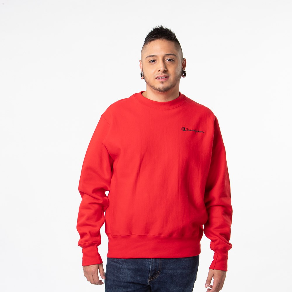 Mens Champion Reverse Weave Crew Sweatshirt - Red